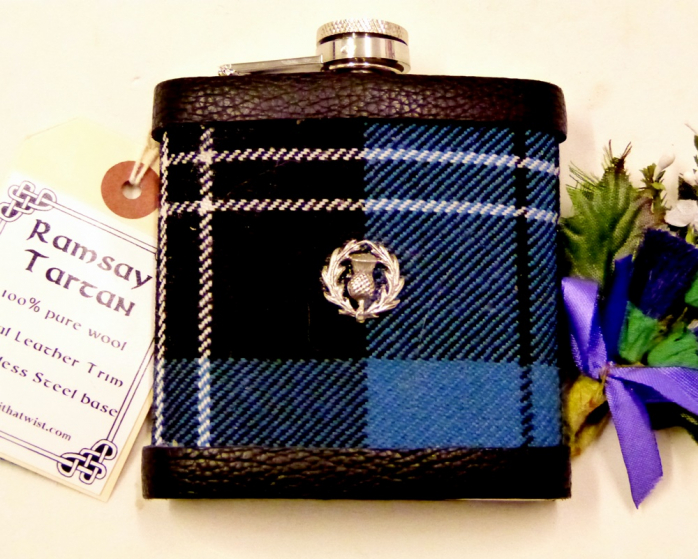 Blue Ramsay tartan flask with hand cast pewter thistle
