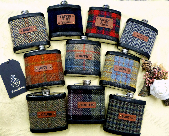 Set of ten Harris Tweed hip flasks
