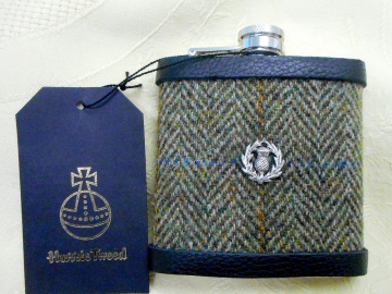 Hip flask set with Scottish thistle in Harris Tweed  olive green traditional herringbone Scottish gift