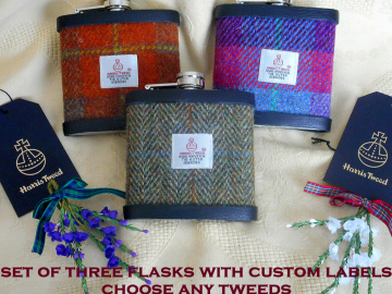 Best Man gifts Harris Tweed hip flasks set of three with personalised labels Scottish wedding theme