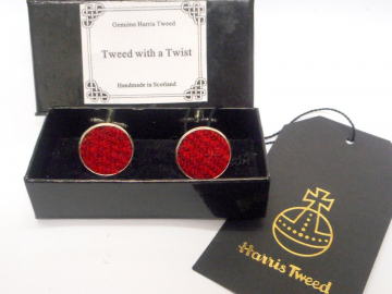 Red and burgundy Harris Tweed cuff links made in Scotland , round cufflinks  for weddings, Best Man or groomsman,  gift for men