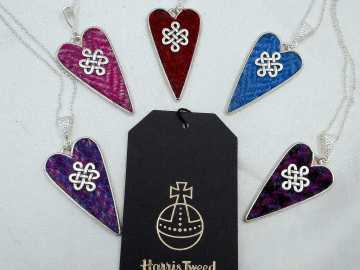 Harris Tweed heart necklace with celtic infinity knot, Scottish pendant  , womens jewellery in choice of colours,  christmas or birthday gift