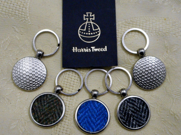 Golf keyring in Harris Tweed herringbone weave, key fob in box, ideal wedding favour for men, or fathers day gift made in scotland
