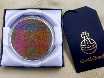 Harris Tweed compact mirror pink green blue, womens gift for her, mothers day or bridesmaid present,