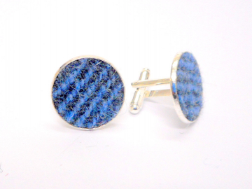 Blue and grey Harris Tweed cuff links made in Scotland  ideal cufflinks for weddings , Best Man or groomsman gift for men