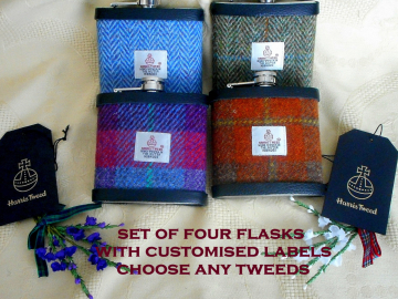 Groomsman gifts hip flasks in Harris Tweed set of four with optional personalized labels on box, for Best Man, Usher, Father of Groom made in Scotland  UK