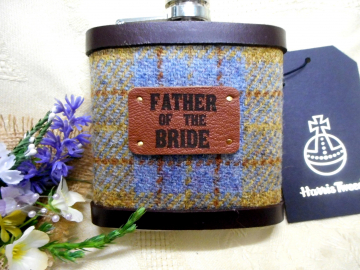 Father of the Bride Rustic theme wedding gift,  Harris Tweed hip flask for rural or woodland wedding leather trimmed, made in Scotland
