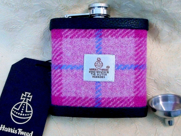 Pink Hip flask in Harris Tweed from Tweed with a Twist, womens or mens Scottish gift, retirement,  best man ,usher ,groomsmen or Valentines present, made in Scotland