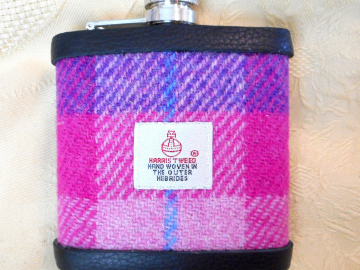 Hip flask  purple and pink Harris Tweed gift for women or men, Ladies Day at the Races, birthday or Mother's day