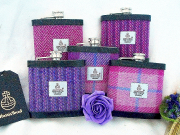 Bridesmaid gifts set of 3,4,5 or 6 , choice of Pinks / purples,  Harris Tweed hip flasks Scottish  luxury gift, personalesed box,  for wedding favour or hen party