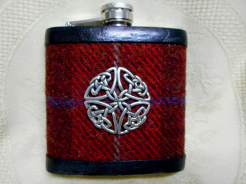 Harris Tweed Celtic red brown and blue hip flask, mens Scottish gift , ideal for best man ,usher, groomsman at weddings, or birthday present, made in Scotland  UK