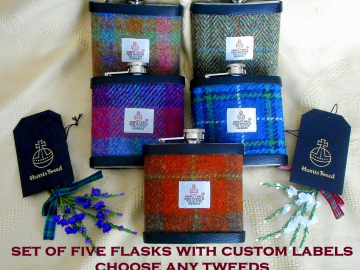 Best Man  ,Groomsman gifts Harris Tweed hip flasks set of five with personalized labels Scottish wedding groom made in Scotland   UK