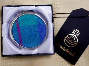 Mirror compact Jade Green and blue Harris Tweed,  womens gift, handbag accessory, for Mother, sister, best friend, silver round made in Scotland UK