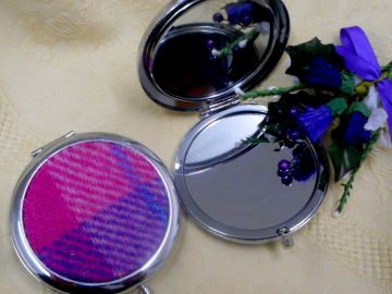 Compact Mirror Pink and purple Harris Tweed Scottish womens gift, handbag or pocket accessory, round silver plated made in Scotland UK