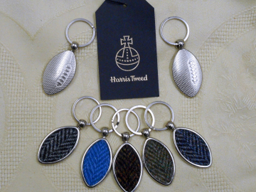 Harris Tweed Rugby keyring herringbone weave key fob in box , ideal wedding favour , fathers day gift for men, made in Scotland , Scottish sports key chain ring