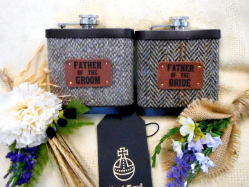 Father of the Groom / Bride Set of two Harris Tweed hip flasks with leather labels, Rustic wedding theme gifts