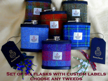 Groomsmens Scottish wedding gifts Harris Tweed hip flasks set of six with customized labels