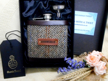 Groomsman gift Harris Tweed hip flask  choice of colourswith real leather trim rural or woodland wedding