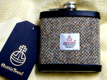 Oatmeal barleycorn Harris Tweed hip flask Scottish mens gift for Christmas,  retirement ,  birthday,  made in Scotland  UK