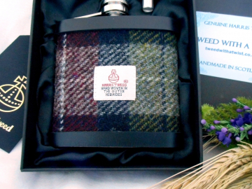 Harris Tweed hip flask deep red olive green and black mens gift made in scotland, ideal retirement birthday christmas present.