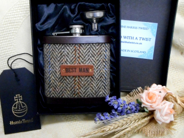 Best Man Harris Tweed hip flask Autumn Harvest brown herringbone gift for  rural  woodland or traditional wedding