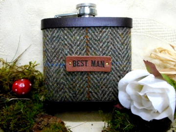 Best Man wedding gift , Harris Tweed hip flask in olive green herringbone , ideal for rustic, rural ,  forest or woodland theme,  leather trimmed