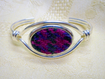 Harris Tweed bangle purple pink and green Scottish womens gift or bridesmaid jewellery mothers day or birthday gift