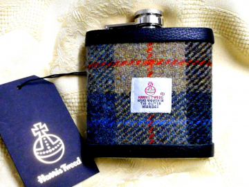 Harris Tweed hip flask beige blue red and black gift for men