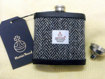 Harris Tweed hip flask in traditional grey and black herringbone mens gift for retirement best man usher groomsman or birthday made in Scotland  UK