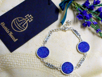 Celtic knot bracelet with HarrisTweed purple and blue bangle Scottish made in Scotland for women bridesmaid jewellery  mothers day gift