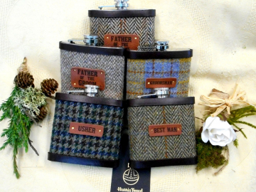 Barn or Rustic wedding gifts Set of five  Harris Tweed hip flasks with leather labels, for usher groomsman best man  father of the bride or groom