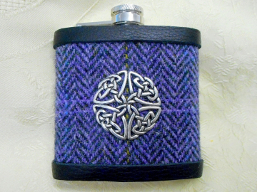 Purple heather Harris Tweed hip flask with celtic knot, herringbone weave,  mens gift retirement , Christmas,  birthday Scottish gift  made in Scotland