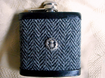 Grey herringbone Harris Tweed hip flask with Scottish thistle, mens gift for retirement, graduation, birthday or Christmas, made in Scotland