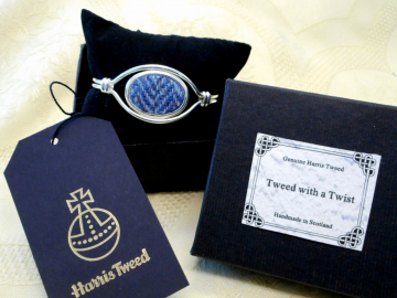 Celtic knot bangle in blue herringbone Harris Tweed, unusual  Scottish Christmas gift for her,  or Bridesmaids present