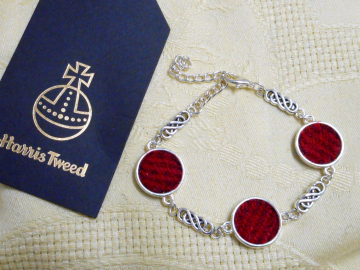 Harris Tweed bracelet red with celtic knot bangle made in Scotland womens or bridesmaid jewellery,  mothers day  Christmas or birthday gift