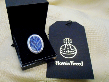 Harris Tweed blue herringbone ring adjustable, silver plated womens statement jewellery , Christmas or birthday gift