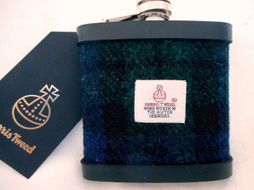 Harris Tweed hip flask in Black Watch Tartan , dark green and blue,  made in scotland  by Tweed with a Twist, an ideal retirement gift ,  best man , groomsman or birthday present