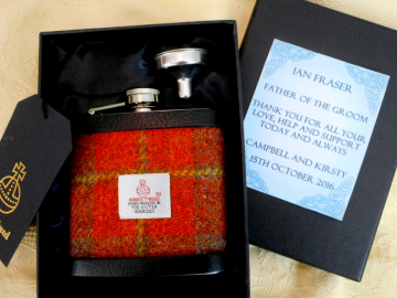 Gift for Father of the Groom, hip flask in Harris Tweed made in Scotland by Tweed with a Twist in choice of any tweed, Scottish wedding gift
