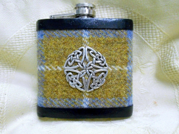 Harris Tweed hip flask blue mustard with Celtic knot  best man usher groomsman or birthday gift for him made in Scotland  UK