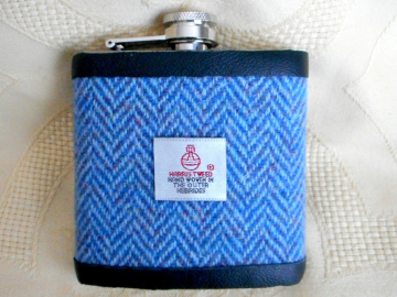 Harris Tweed hip flask  blue herringbone weave,  mens gift for retirement, wedding, Best Man , Usher , Groomsman or birthday made in Scotland  UK