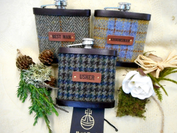 Rustic , Woodland or Barn Scottish wedding gifts,  Harris Tweed hip flasks set of three with leather labels, for groomsmen, Best Man, Father of the bride or groom