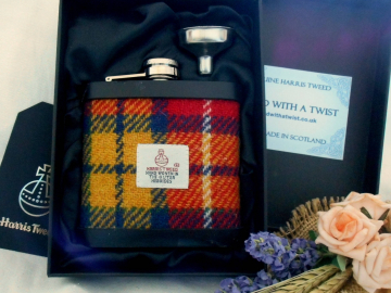 Buchanan Tartan Harris Tweed hip flask made in Scotland