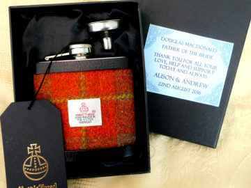Father of the Bride custom gift, hip flask in Harris Tweed , wide choice of colours,  made in Scotland,   Scottish gift