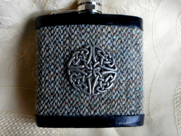 Harris Tweed hip flask oatmeal barley twist weave, with Celtic knot shield, ideal for retirement,  best man , usher or groomsman,  birthday or Christmas Scottish gift made in Scotland  UK