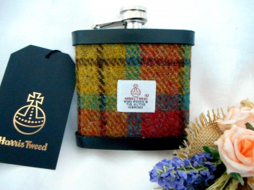 Harris Tweed hip flask yellow green and rose red plaid  made in scotland