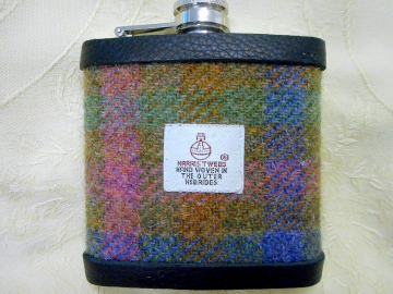 Harris Tweed hip flask blue pink green  with real leather trim made in Scotland  UK