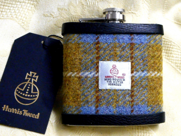 Harris Tweed hip flask mustard blue and russet mens gift