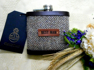 Best Man wedding gift Harris Tweed hip flask oatmeal beige brown , rustic rural  forest or woodland theme leather trimmed
