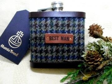 Best Man hip flask, gift for Rustic wedding in Harris Tweed forest green brown and blue check,  rural or woodland wedding,  leather trimmed