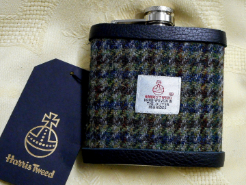 Green blue and brown Harris Tweed hip flask houndstooth weave